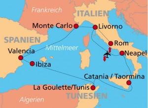 Aldi Mittelmeer Kreuzfahrt - Route